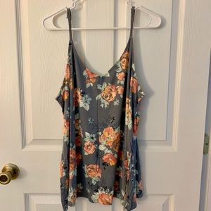 Grey, floral, cami/tank top from torrid
